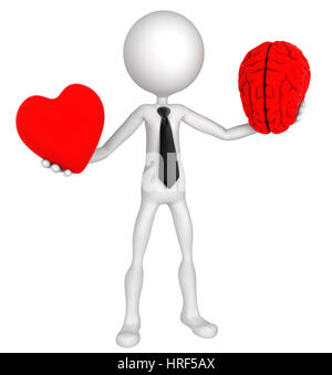 Difficult choice. Businessman balance Heart And Mind. Isolated - Stock Photo