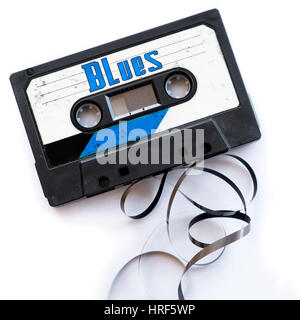 blues musical genres audio tape label - Stock Photo