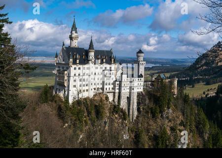 Neuschwanstein Castle in winter landscape, Fussen, Germany, Bavariam Europe - Stock Photo