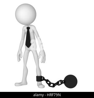 3D Businessman with a chain ball. Business crime concept. isolated on white background - Stock Photo