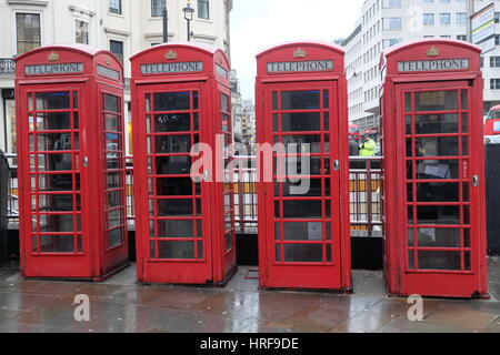 Phone Boxes on The Strand, London - Stock Photo