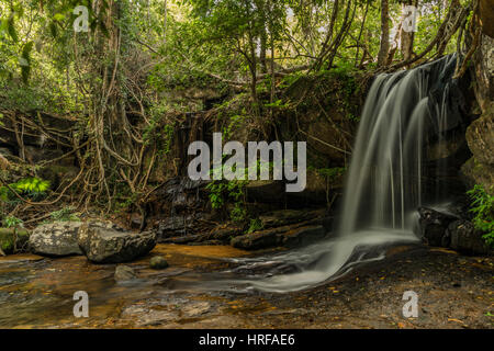 Kbal Spean waterfall in Cambodia mountains in January - Stock Photo