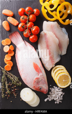 Raw fresh tilapia and vegetable ingredients, spices close-up on the table. vertical view from above - Stock Photo