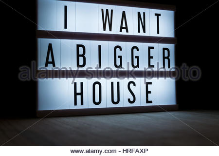 'I want a bigger house' text in lightbox - Stock Photo
