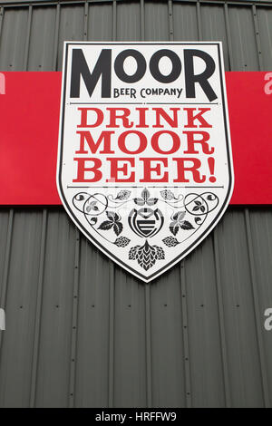 BRISTOL, UK: Moor Beer Company brewery on the corner of Days Road and Kingsland Road. - Stock Photo