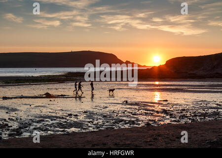 A family with dog in silhouette walking on a beach at Daymer Bay in Cornwall at sunset.  The setting sun reflects - Stock Photo