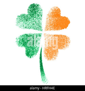 Stenciled four leaf Irish clover with colors of the Ireland flag - Stock Photo