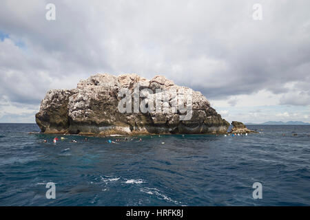 Sail Rock dive site in the Gulf of Thailand, between Koh Phangan and Koh Tao, Thailand - Stock Photo