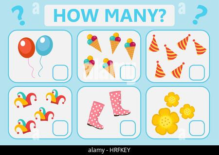 Childrens educational logic game. Mathematical task. How many. Vector illustration. - Stock Photo