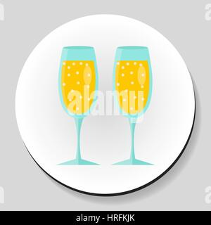Two glasses of champagne sticker icon flat style. Vector illustration. - Stock Photo