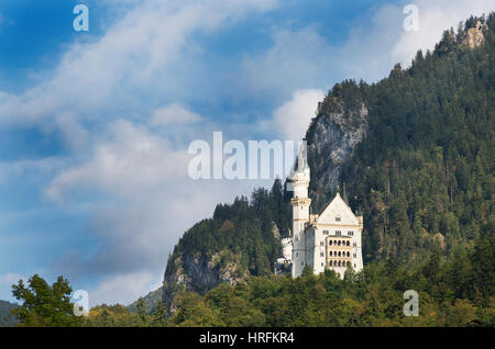 19th Century Romanesque Revival Neuschwanstein Castle, Bavaria, Germany - Stock Photo