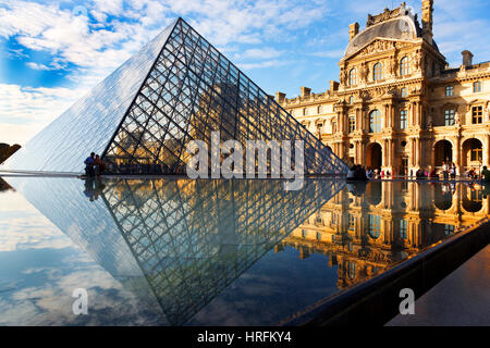 The Louvre old and new architecture structure of the great art collection museum, Paris, France, Europe - Stock Photo