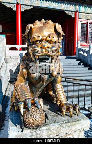 The bronze lion statue in  Forbidden City - Stock Photo