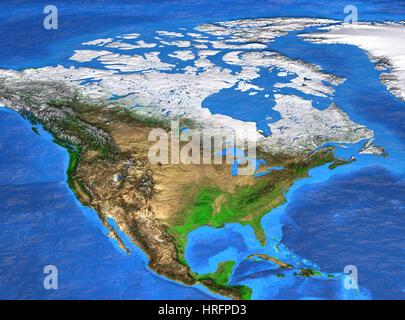 Detailed satellite view of the Earth and its landforms. North America map. Elements of this image furnished by NASA - Stock Photo