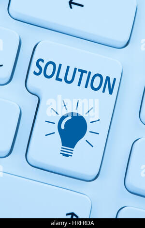 Finding solution for problem conflict button internet blue computer online web keyboard - Stock Photo