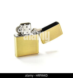 Closed Up Zippo Lighter Isolated on White Background - Stock Photo