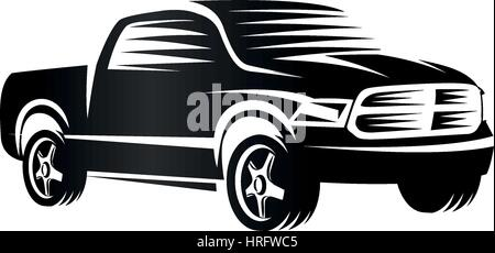 Isolated monochrome engraving style pickup trucks logo, cars logotype, black color automotive vehicle vector illustration - Stock Photo