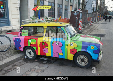 Trabant painted by French artist Thierry Noir in Berlin, Germany. - Stock Photo