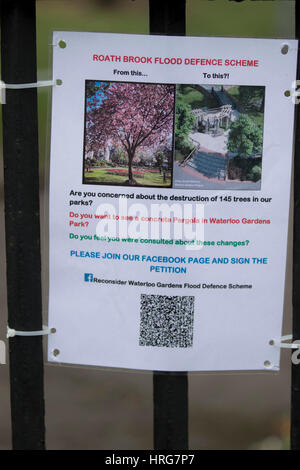 Roath, Cardiff, UK. 1st Mar, 2017. Residents in Roath and Penylan have spoken out against the cutting down of 145 trees. The tree felling is taking place in four gardens along Roath Brook as part of new flood defence work. Local people have been leaving 'sympathy' cards and notes of protest on fencing around the sites. Credit: Craig Redmond/Alamy Live News