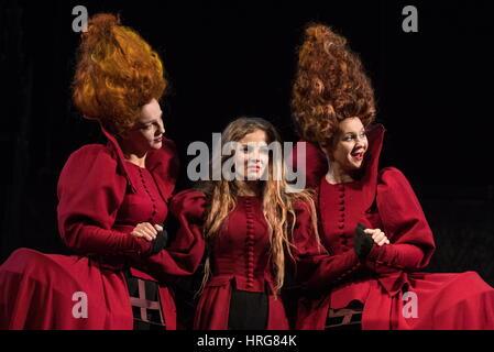 Moscow, Russia. 1st Mar, 2017. Irina Leonova as Regan, Lear's second daughter, Olga Pleshkova as Cordelia, Lear's - Stock Photo