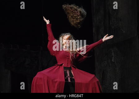 Moscow, Russia. 1st Mar, 2017. Olga Pleshkova as Cordelia, Lear's youngest daughter, in a stage production of William - Stock Photo