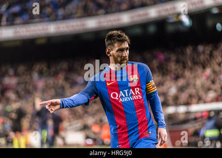 Barcelona, Catalonia, Spain. 1st Mar, 2017. FC Barcelona forward MESSI looks on during the LaLiga match against - Stock Photo