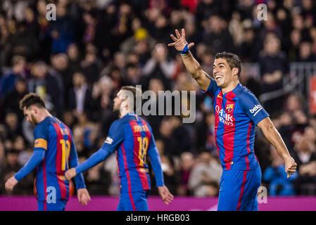 Barcelona, Catalonia, Spain. 1st Mar, 2017. FC Barcelona forward SUAREZ celebrates a goal during the LaLiga match - Stock Photo