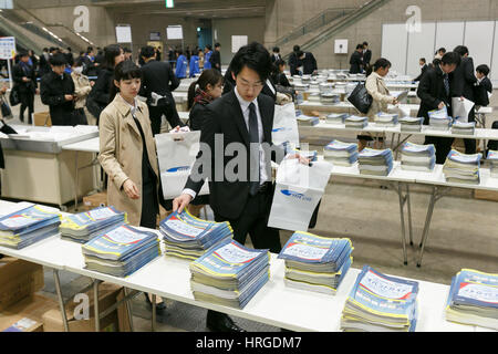 University students attend a job fair at Makuhari Messe on March 2, 2017, Chiba, Japan. March is the month that Japanese students, who are set to graduate next Spring, start to attend career seminars and submit job applications; also known as Shushoku Katsudo (job-hunting activity.) This job fair is held on March 1st and 2nd by the Japanese human resources company Recruit Holdings Co., Ltd. Credit: Rodrigo Reyes Marin/AFLO/Alamy Live News