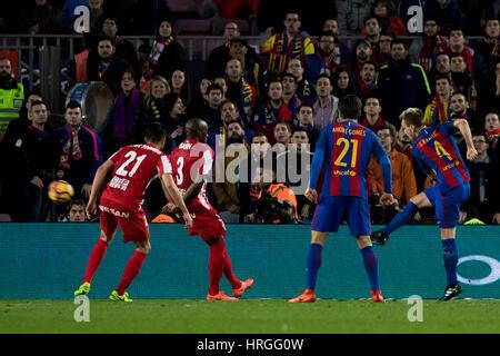 Camp Not Stadium, Barcelona, Spain. 1st March, 2017. Rakitic's goal at Camp Nou Stadium, Barcelona, Spain. Credit: - Stock Photo