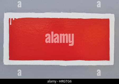 Red Hand-Painted Prohibition Warning Sign Background, Horizontal Grunge White Frame Over Grey, Blank Empty Copy - Stock Photo