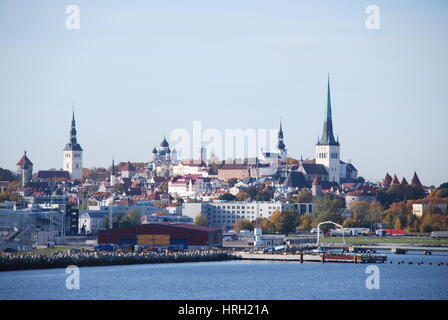 View to the Old Town Tallinn, Estonia from the port - Stock Photo