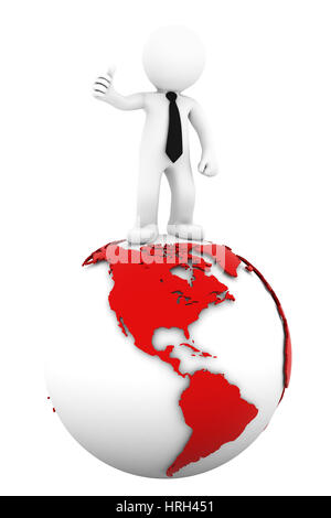 3d Businessman standing on earth globe: American side. Isolated on white - Stock Photo