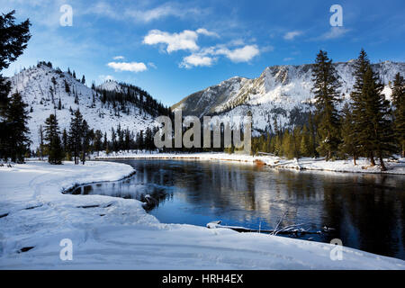 Yellowstone River, Winter, Yellowstone National Park - Stock Photo