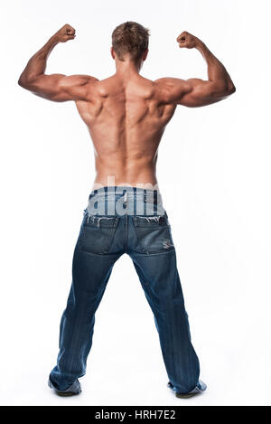 Model released, Bodybuilder, Junger Mann mit muskuloesem Oberkoerper - young man with muscular body - Stock Photo