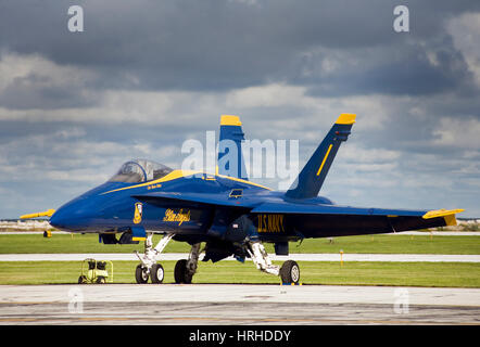 US Navy Blue Angels parked on the tarmac - Stock Photo