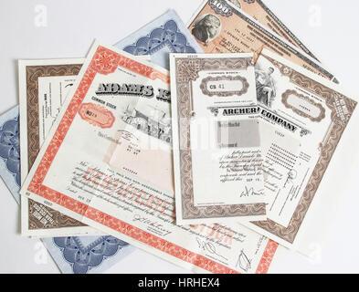 Stock Certificates - Stock Photo