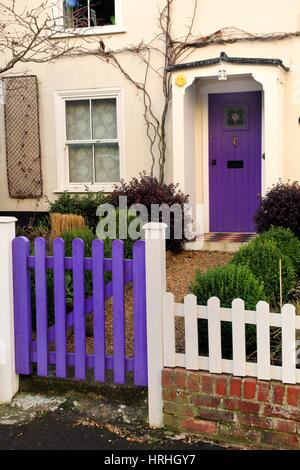 A Beautiful House And Front Garden With Purple Lavender