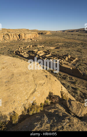 New Mexico, Chaco Culture National Historical Park, Chetro Ketl, ancestral Puebloan great house ruins, AD 990 to - Stock Photo
