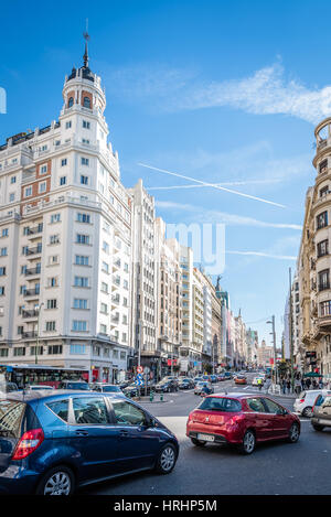 Traffic Jam in the Gran Via Street in Madrid. It is an important street in Central Madrid with shops and theaters. - Stock Photo