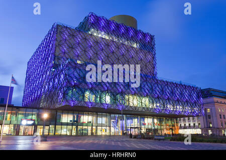The Library of Birmingham, illuminated at night, Centenary Square, Birmingham, West Midlands, England, United Kingdom - Stock Photo