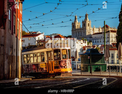 Tram number 28 in Alfama, Lisbon, Portugal - Stock Photo
