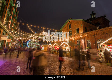 Toronto Christmas market in the Distillery district, Toronto, Ontario, Canada, North America - Stock Photo