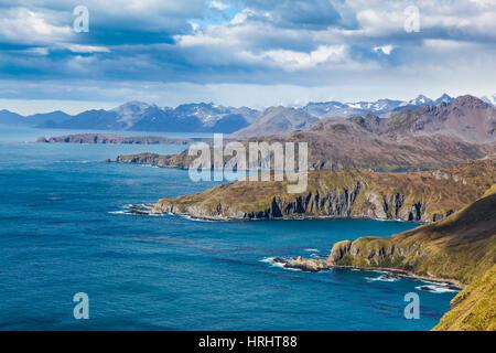 View over Godthul, South Georgia, Antarctica, Polar Regions - Stock Photo