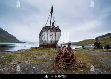 Old whaling boat, in the former whaling station, Grytviken, South Georgia, Antarctica, Polar Regions - Stock Photo