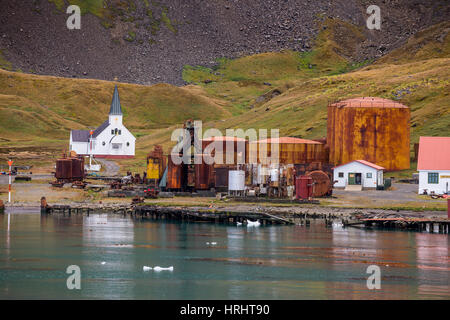 Former whaling station, Grytviken, South Georgia, Antarctica, Polar Regions - Stock Photo