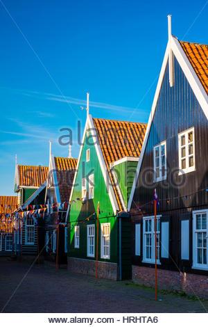 Houses in the village of Kerkbuurt, Marken, North Holland, Netherlands - Stock Photo