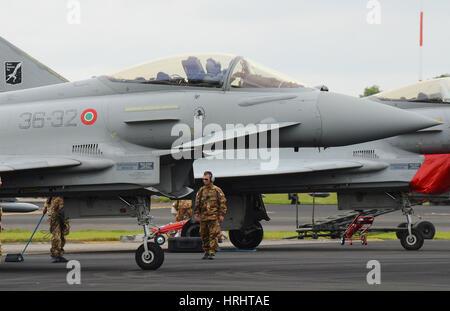Italian Air Force (Italian: Aeronautica Militare; AM) Eurofighter Typhoon fighter plane at the Royal International - Stock Photo