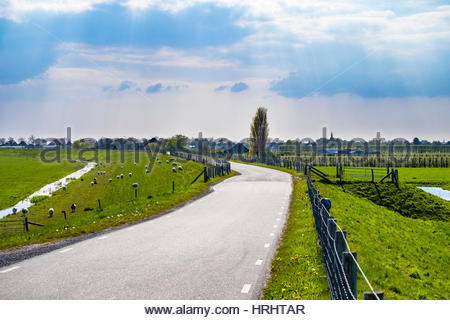 Winding rural road along the Zuiderdijk, Oosterleek, North Holland, Netherlands - Stock Photo