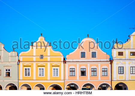 Facades of Renaissance and Baroque houses on Namesti Zachariase z Hradce square, Telc, Vysocina Region, Czech Republic - Stock Photo
