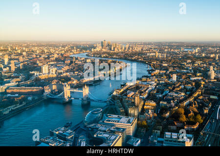 High view of London skyline along the River Thames from Tower Bridge to Canary Wharf, London, England, United Kingdom - Stock Photo